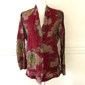 Silky Linen mix floral Jacket with pockets Large